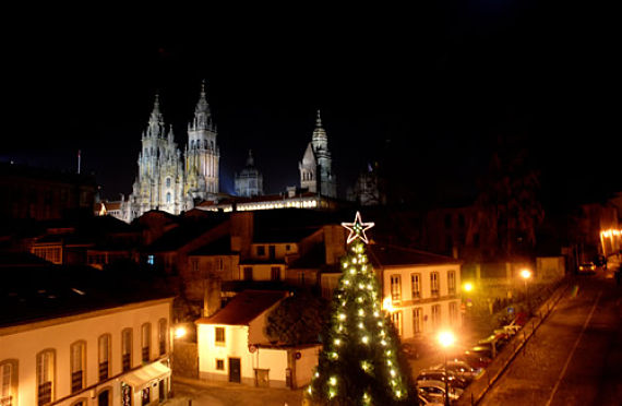 Foto de luces navideñas en Santiago