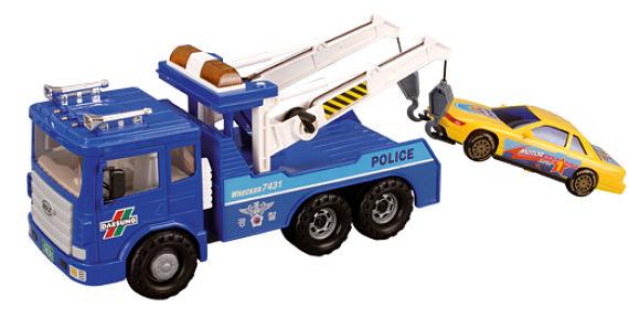Grúa de policia de juguete llevándose un coche
